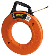 Marked Fish Tape, Tape Material Fiberglass, Length 200 ft., Round Tape Profile, Tape Size 3/16 In., Winder Case Yes, Case Style Winder Slide, Case Material Polypropylene, Case Dia. 17 In., Features Laser Etched Tape, Orange Case, Sloped Handle, 7 In. Leader, Includes 7 In. Leader