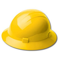 ERB-19222 Yellow Ratchet Full Brim Hard Hat - Americana Full Brim Mega Ratchet 4-Point Nylon Suspension w/Ratchet Adjustment