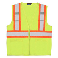 ERB-61820 4XL MED Lime ANSI Class 2 Mesh Vest  Hi-Viz  Zipper