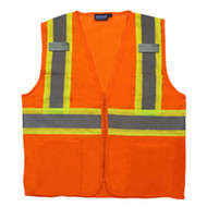 ERB-61828 4XLG Org ANSI Class 2 Mesh Vest  Hi-Viz  Zipper