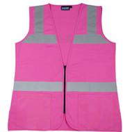 ERB-61912 XL Women's PINK Tricot Vest  Hi-Viz  - Zipper