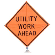 "B AFSU0915OC SG ""UTILITY WORK AHEAD""  Standard Grade 48"" Roll-Up Sign"