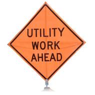 """B AFSU0915OC SG """"UTILITY WORK AHEAD""""  Standard Grade 48"""" Roll-Up Sign"""