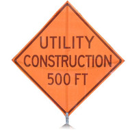 "B A4SU0896 SG ""UTILITY CONSTRUCTION 500FT""  Standard Grade 48"" Roll-Up Sign"