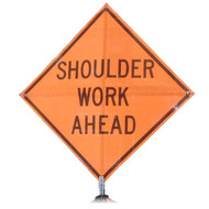 "B A4SS0726 SG ""SHOULDER WORK AHEAD"" Standard Grade 48"" Roll-Up Sign"