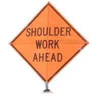 "B A4SS0726 SG ""SHOULDER WORK AHEAD"" Standard Grade 48"" Roll-Up Sign"