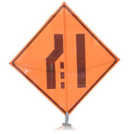 "B A4SM08110 SG ""MERGE RIGHT SYMBOL""  Standard Grade 48"" Roll-Up Sign"
