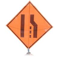 """B A4SM08100 SG """"MERGE LEFT SYMBOL""""  Standard Grade 48"""" Roll-Up Sign"""