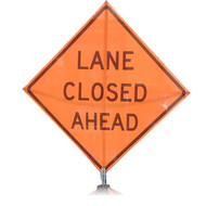 "B A4SL3500 SG ""LANE CLOSED AHEAD""  Standard Grade 48"" Roll-Up Sign"
