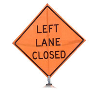 "B A4SL0385 SG ""LEFT LANE CLOSED""  Standard Grade 48"" Roll-Up Sign"