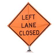 "B A4SL0385 SG ""LEFT LANE CLOSED""  Standard Grade 48"" Roll-Up Sign"