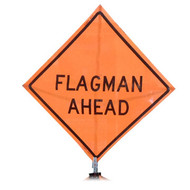 "B A4SF2900 SG ""FLAGMAN AHEAD""  Standard Grade 48"" Roll-Up Sign"