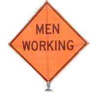 """B A4SM0425 SG """"MEN WORKING""""  Standard Grade 48"""" Roll-Up Sign"""