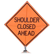 "B PM4848SCAOC ""SHOULDER CLOSED AHEAD"" Premium Grade 48"" Roll-Up Sign"