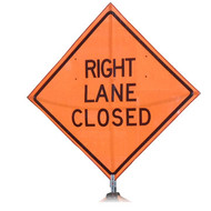 "B A4PR0600 PG ""RIGHT LANE CLOSED""  Premium Grade 48"" Roll-Up Sign"