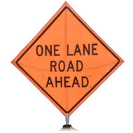 "B A4PMOLRA48 PG ""ONE LANE ROAD AHEAD"" Premium Grade 48"" Roll-Up Sign"