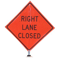 "B A4DR03850C DG 'RIGHT LANE CLOSED""  3M Diamond Grade 48"" Roll-Up Sign"