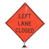 "B A4DL03850C DG 'LEFT LANE CLOSED""  3M Diamond Grade 48"" Roll-Up Sign"