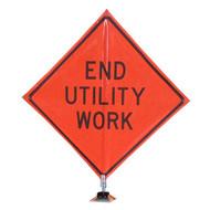 """B A4DE0235OC DG """"END UTILITY WORK""""  3M Diamond Grade 48"""" Roll-Up Sign"""