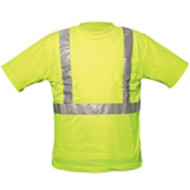 "SP OK-TAL S/M T-SHIRT S/M Lime T-Shirt ANSI/ISEA 107 Compliant Class II Level II Performance 100% Polyester-Solid 2"" Beaded Tape Chest Pocket"
