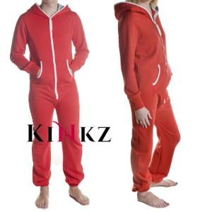 Red adult footless onesie