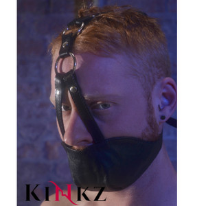 Black leather bondage mouth chin gag bdsm slave