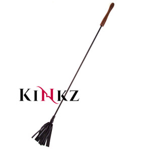 Black Leather bondage riding crop with wooden handle bdsm slave spanking whip