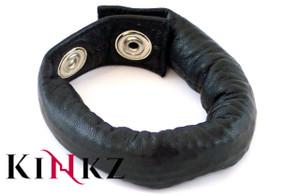Black leather weighted cock strap bondage bdsm slave master fetish