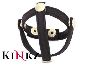 Black leather three piece cock and ball divider 3 piece cock & ball strap bondage bdsm fetish