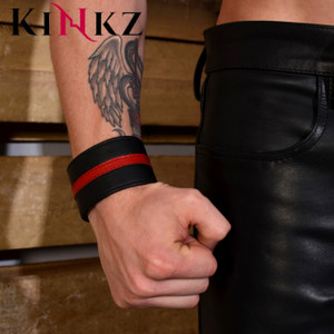 Leather wristband for bondage bdsm fetish master slave clubbing