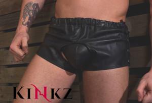 Black leather frontless and backless shorts bondage bdsm master slave fetish