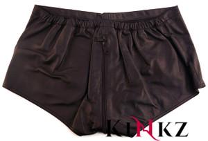 Black Leather shorts with full zip front to back bondage bdsm master slave fetish clubbing