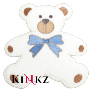 Large Teddy With Blue Bow Iron / Sew On Motif Iron / Sew On Motif or Patch for adult baby clothing abdl