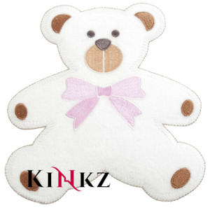Large Teddy With Pink Bow Iron / Sew On Motif Iron / Sew On Motif or Patch for adult baby clothing abdl