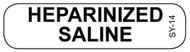 SY-14 Syringe Label - Heparanized Saline