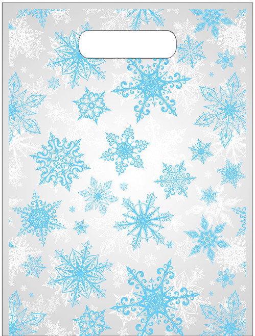 "9""x12"" Clear plastic tote bag with snowflake design"