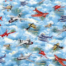 Wingman Blue Vintage Airplanes Blue by Quilting Treasures