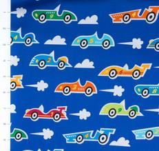 Super Speedway Racecars Blue by Robert Kaufman