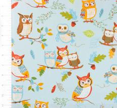Forest Fellows Owls Blue by Robert Kaufman