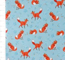 Forest Fellows Foxes Blue by Robert Kaufman
