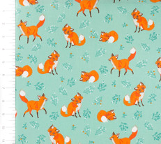 Forest Friends Foxes Teal by Robert Kaufman