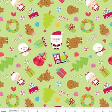 Santa Christmas Green Fabric by Riley Blake