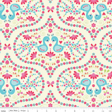 Flutterberry Plume Cream Fabric by Riley Blake