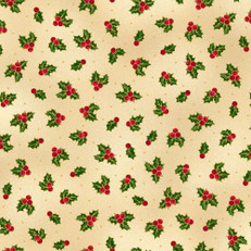 Metallic Holly Cream Fabric by Quilting Treasures
