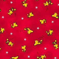 Woodstock Toss Red Fabric by Quilting Treasures