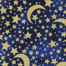 Moon and Stars Midnight Glittery Fabric by Michael Miller