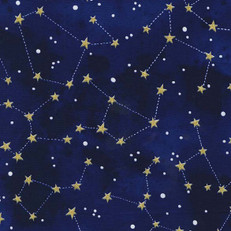 Constellation Midnight Glittery Fabric by Michael Miller
