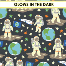 Outer Space Astronauts Glow Flannel by Camelot