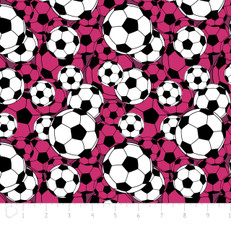 Soccer Balls Pink Flannel by Camelot
