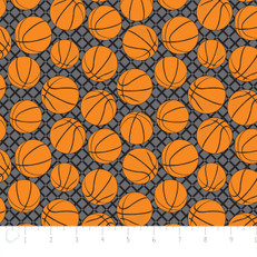 Basketballs Grey Flannel by Camelot